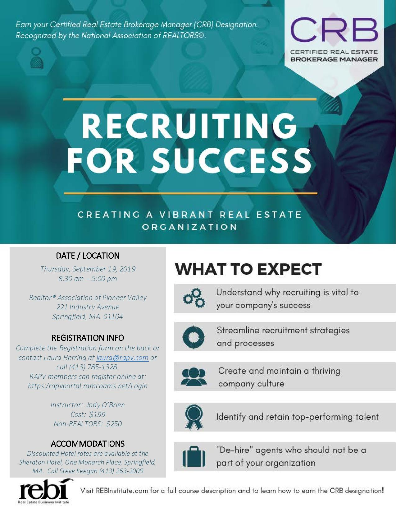 CRB Certification Course-Recruiting for Success   REALTOR